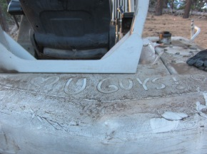 We had some vandalism happen to our equipment while on site and our cargo trailer was broken into. When we show up for work one morning and saw this not on the back of our excavator written in the dirt it certainly helped to make up for some of those things!