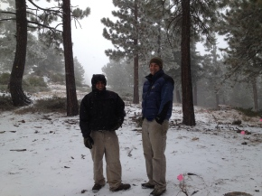 Day one: checking the trail alignment while the snow comes down.